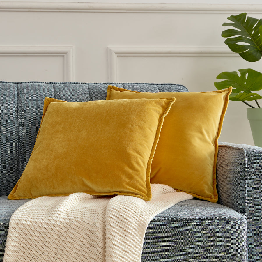 sleep zone bedding set of 2 velvet throw pillowcase covers golden yellow on sofa