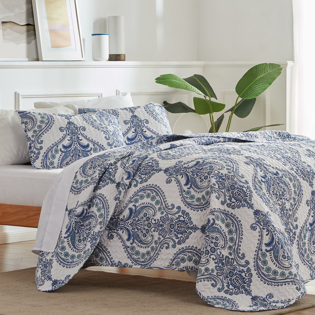 sleep zone bedding classic baroque quilt set blue white bedroom sunshine side view