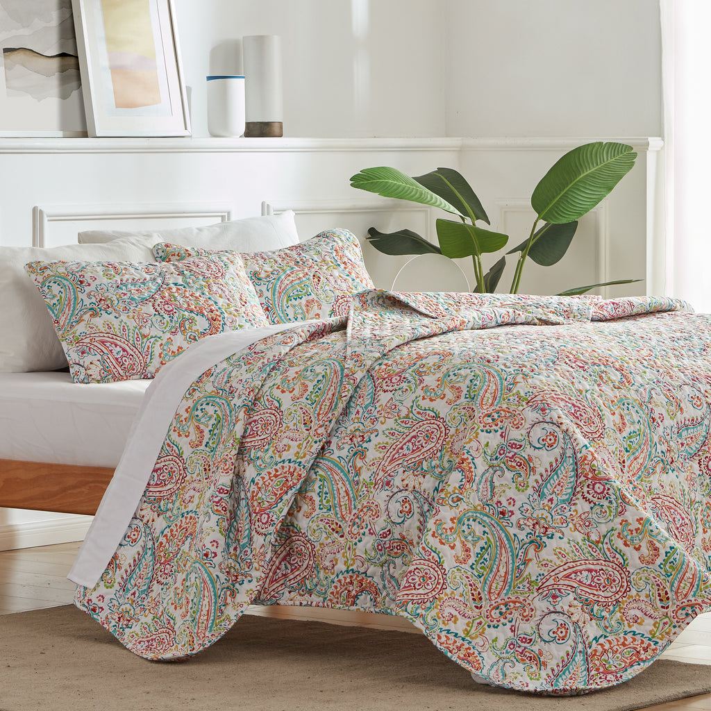 sleep zone bedding printed classic paisley quilt set with pillowcases colorful flower bedroom sunshine side view