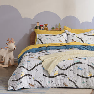 Sleep Zone® White Car Road Kids Comforter Set