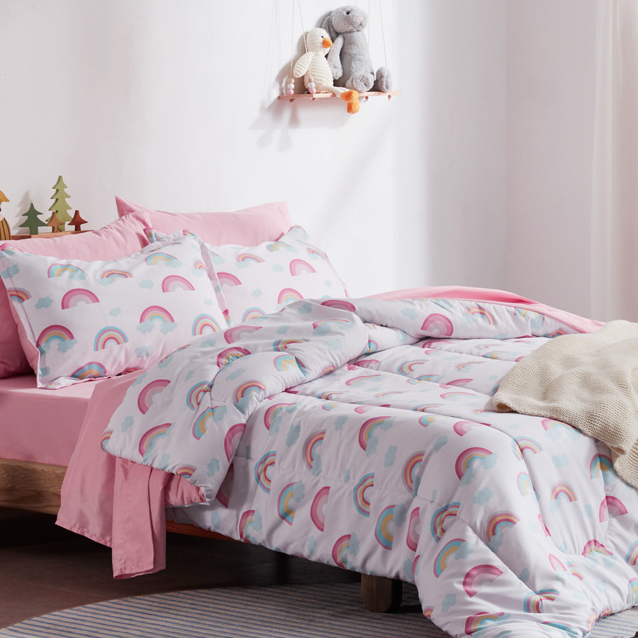 Sleep Zone® White Pink Rainbow Kids Comforter Set