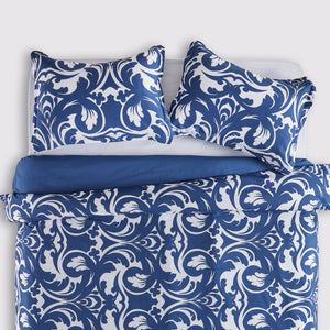 Sleep Zone®Baroque Floral Blue Duvet Cover Set