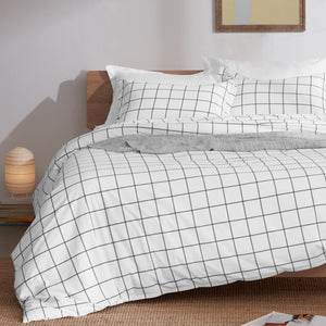 Sleep Zone®Grey Grid Duvet Cover Set