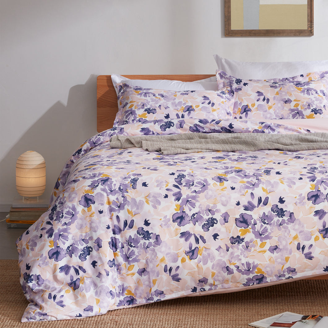 Sleep Zone®Watercolor Floral Purple Duvet Cover Set