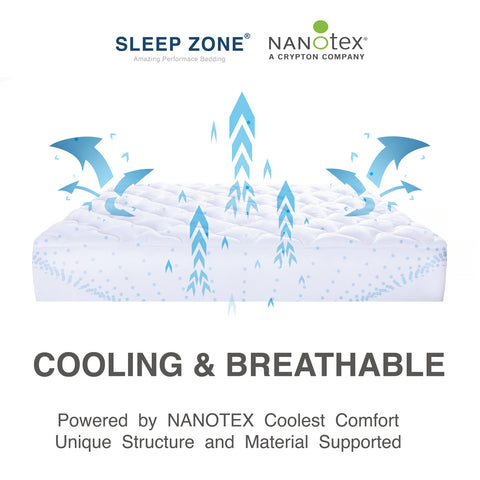 Sleep Zone® Quilted NanoTex® Coolest Comfort Cooling Matrress Pad