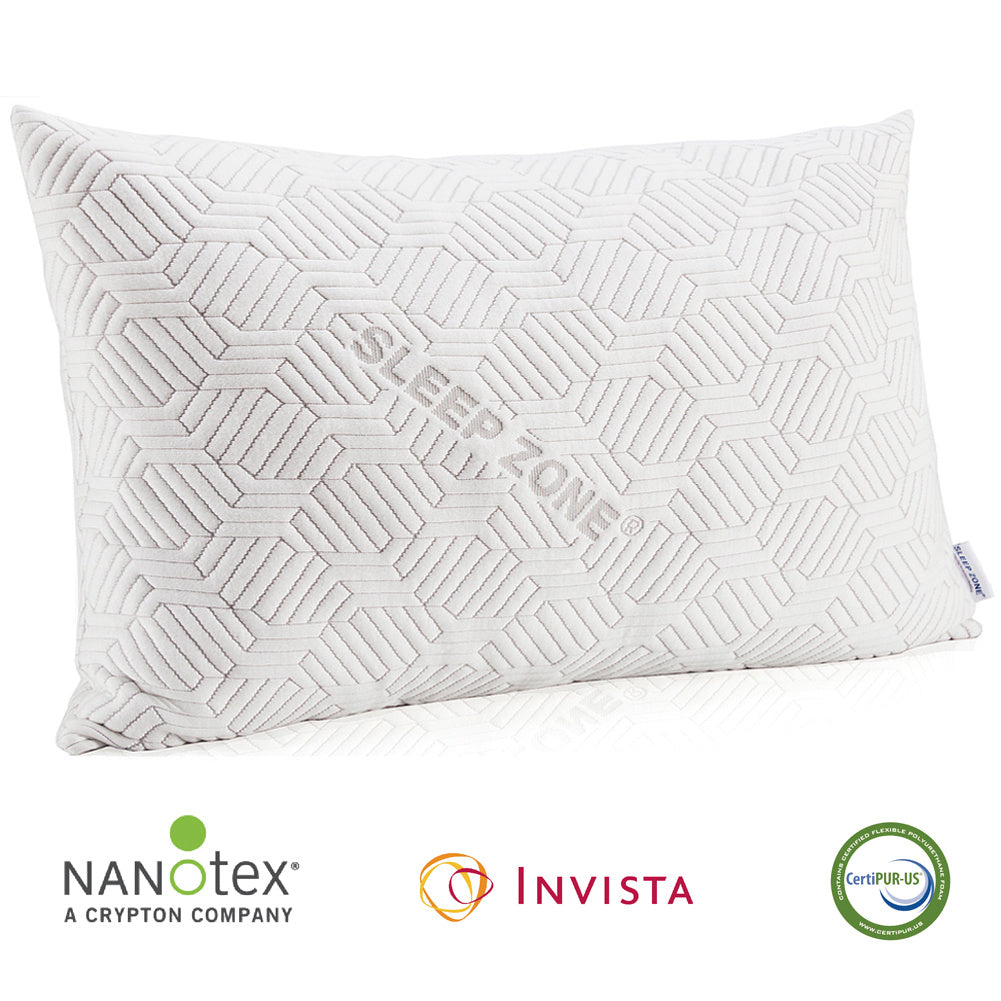 sleep zone  bedding adjustable shredded memory foam pillow with nanotex coolest comforter white front view