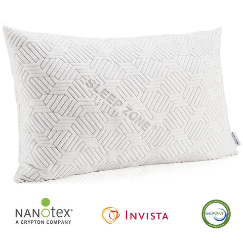 Sleep Zone® Adjustable Shredded Memory Foam Pillow with NanoTex® Coolest Comforter