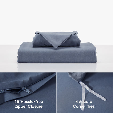SLEEP ZONE® Bedding Duvet Cover Cooling 120gsm Soft Zipper Closure Corner Ties 3 PC