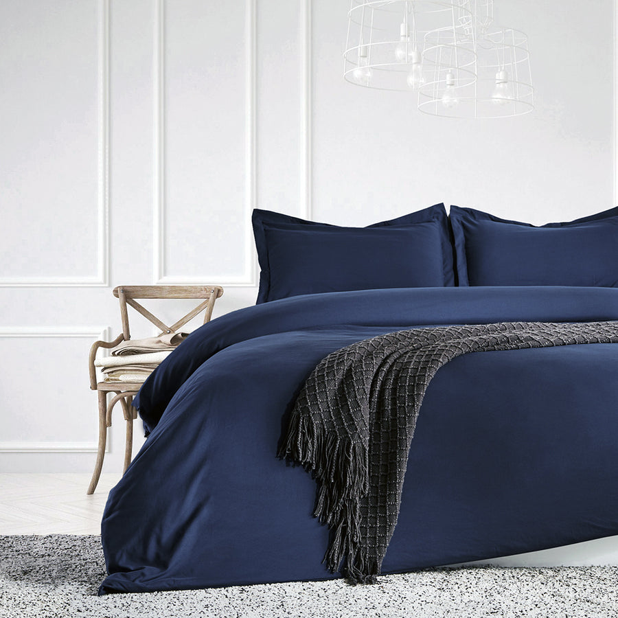 sleep zone bedding duvet cover cooling 120gsm soft zipper closure corner ties 3pc set navy blue  queen king