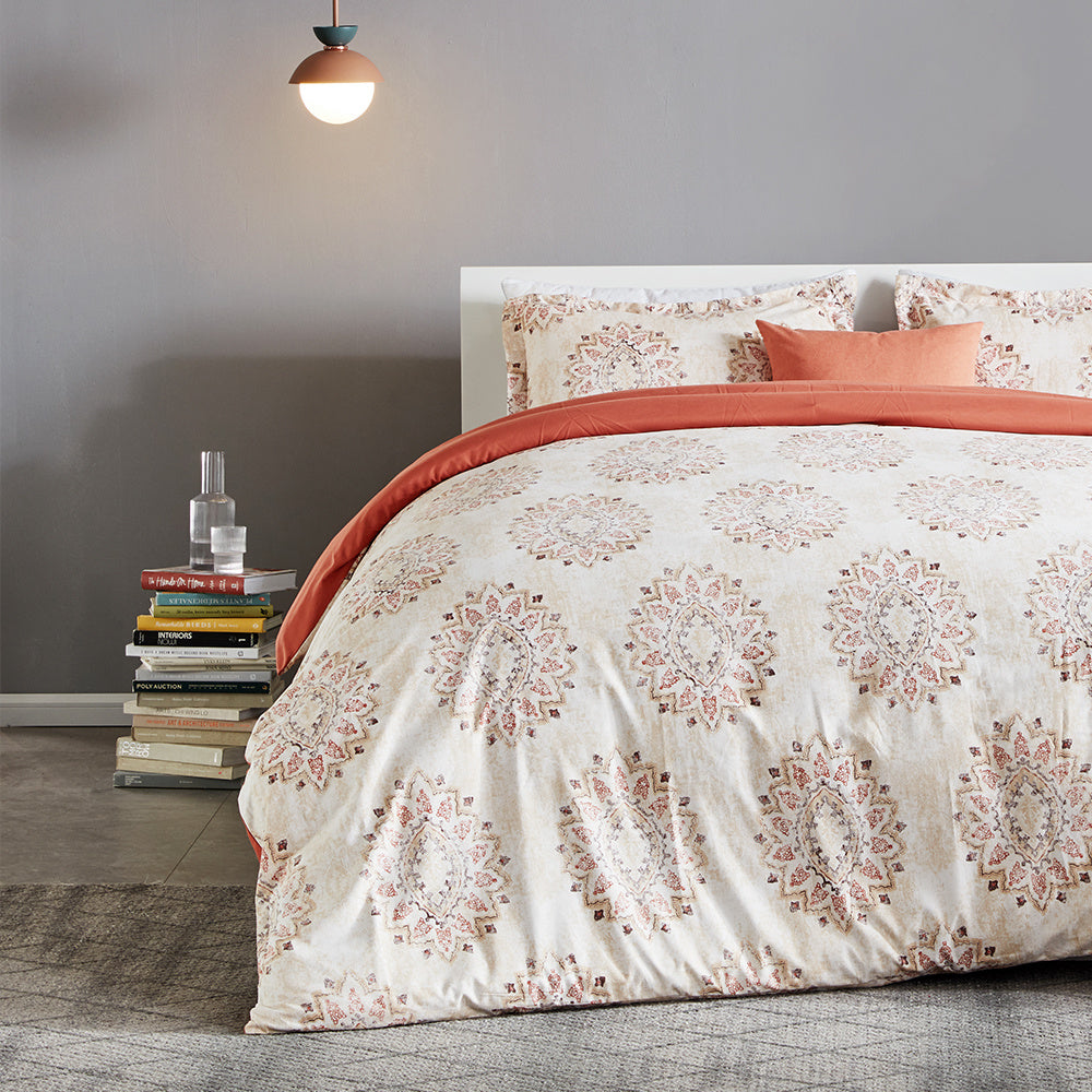 sleep zone bedding vintage damask printed duvet cover set white orange queen king bedroom book next bed