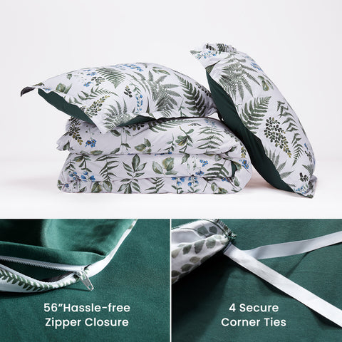 SLEEP ZONE® Bedding Duvet Cover Sets Printed Tropical Plants 120gsm Ultra Soft Zipper Closure Corner Ties Green Twin Full Queen King