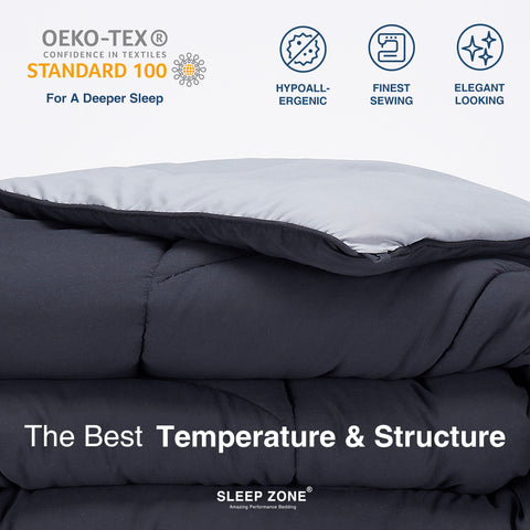 Sleep Zone® All Season U-Shape Reversible Comforter Black and Grey