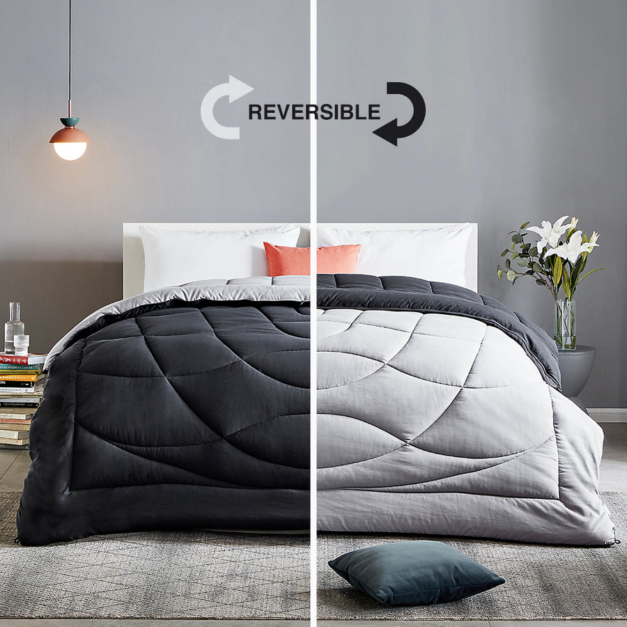 SLEEP ZONE® All Season Comforter Down Alternative Soft Cooling Reversible Duvet Black Gray Twin Full Queen King