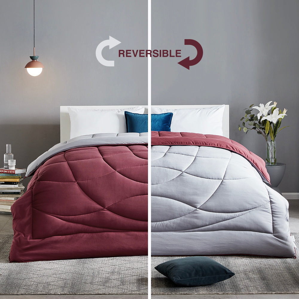 sleep zone bedding all season u shape reversible comforter burgundy grey red queen king bedroom sunshine