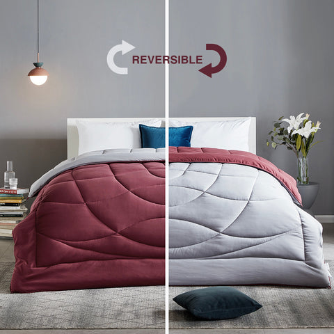 Sleep Zone® All Season U-Shape Reversible Comforter Burgundy and Grey