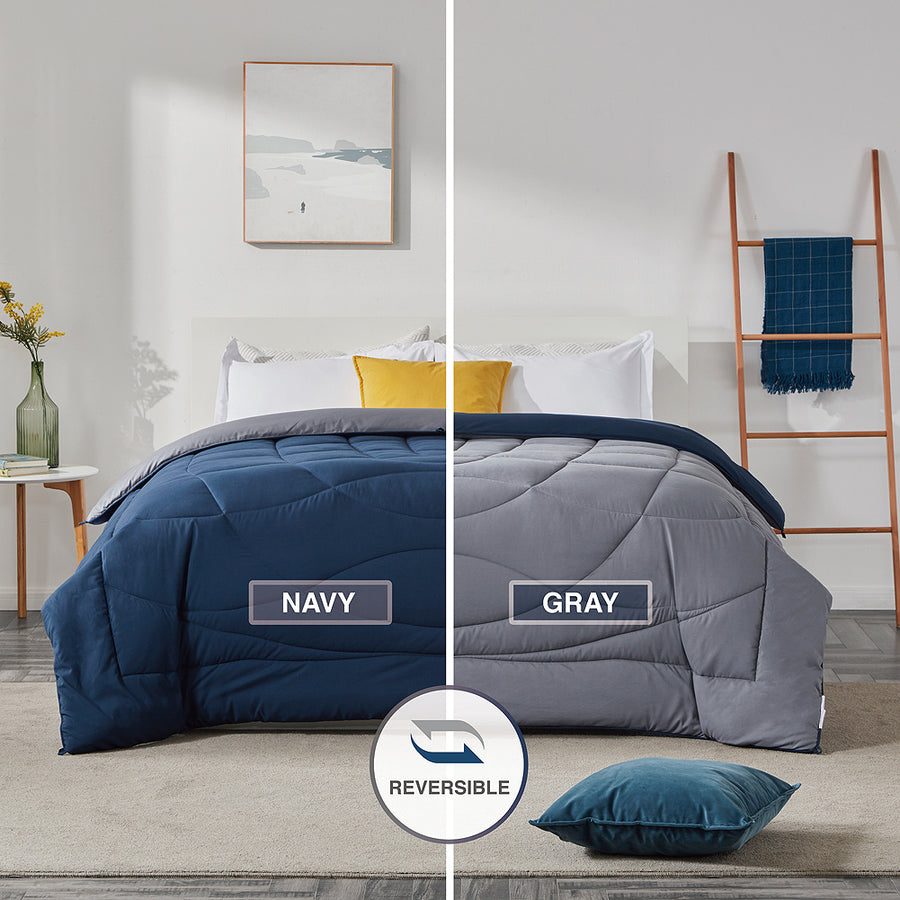 SLEEP ZONE® All Season Comforter Down Alternative Soft Cooling Reversible Duvet NavyBlue+Gray Twin Full Queen King