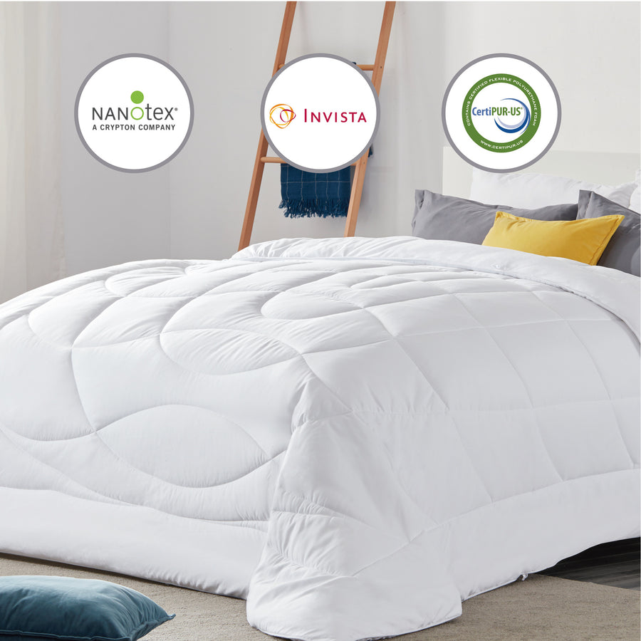 SLEEP ZONE® All Season Comforter Down Alternative Soft Cooling Reversible Duvet White Twin Full Queen King