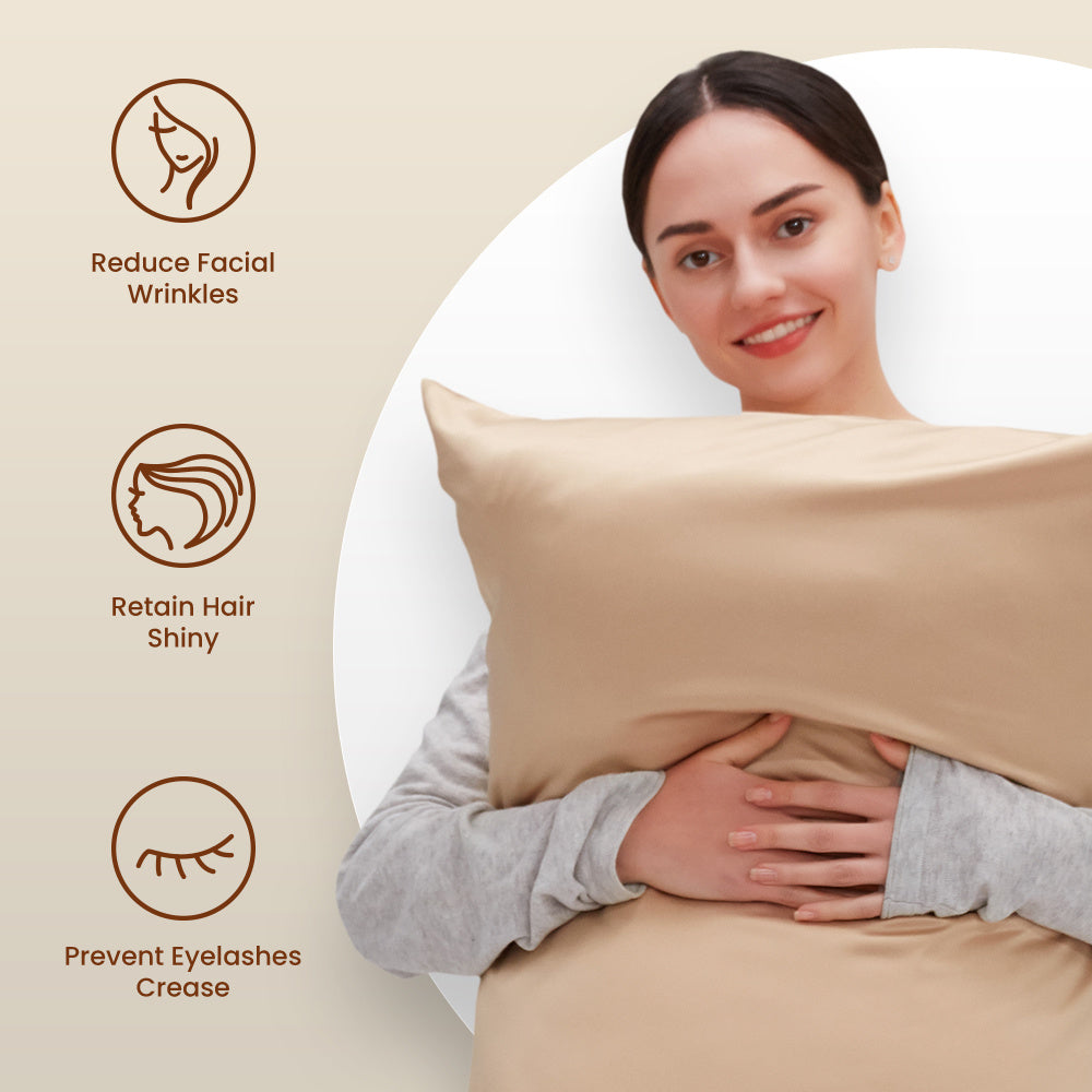 SLEEP ZONE® Satin Pillowcases Cooling set of 2 for Hair and Skin Standard/Queen 20x30 pillow cover