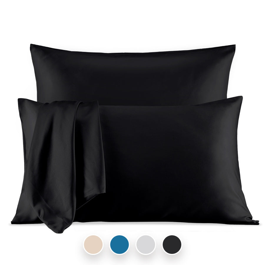 sleep zone bedding luxe norishing skin friendly satin pillowcases dark grey black queen king