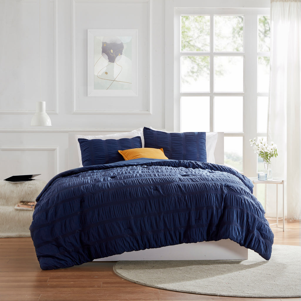 sleep zone bedding modern luxe seersucker comforter set navy blue full queen king bedroom sunshine