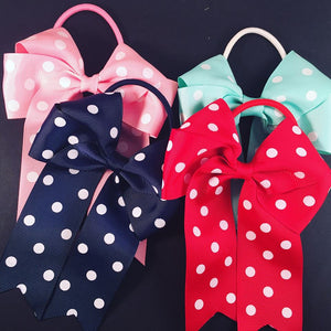 "4.5"" Cheer Bow with white dots (various Colours)"