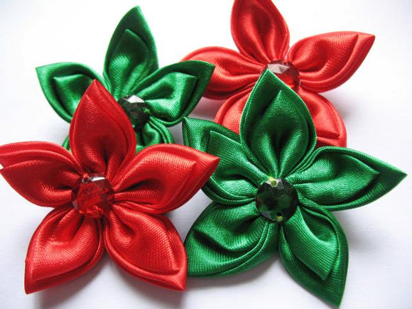 Christmas Satin Flower Clip