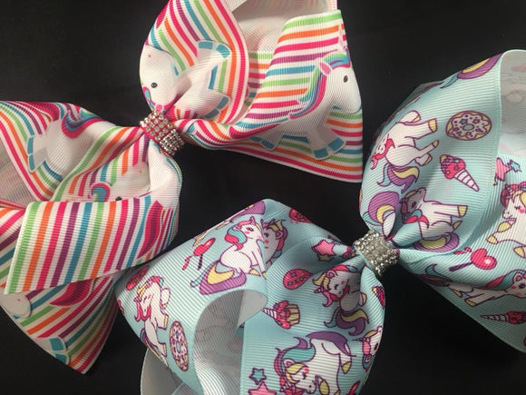 Large Unicorn Hair Bow Clip