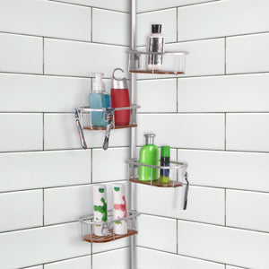 Loft97 Tia Rustproof Corner Tension Shower Caddy, Teak Shelves