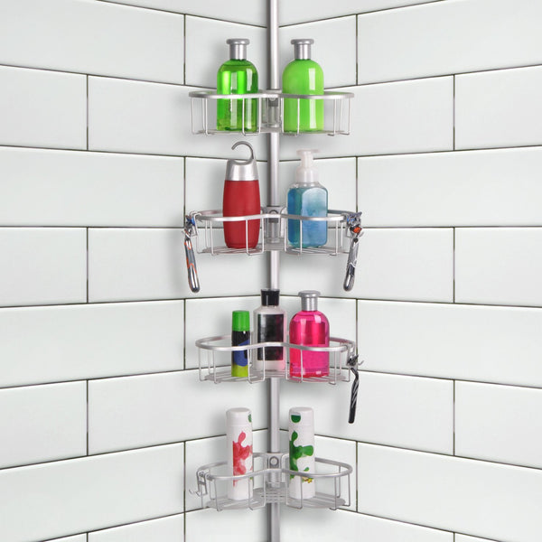 Loft97 Flat Shelf, Rustproof Corner Shower Caddy, Satin Chrome Finish