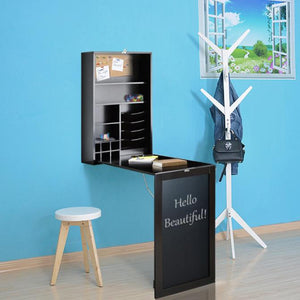 Loft97 Fold Down Desk Table Wall Cabinet With Chalkboard, Espresso