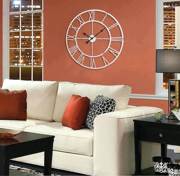 "Loft97 Roman Round Clock, 30"" Diameter, Distressed White"