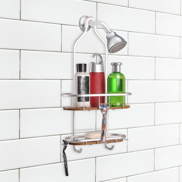 Loft97 Tia Rustproof Over the Shower Caddy, 2 Teak Shelves
