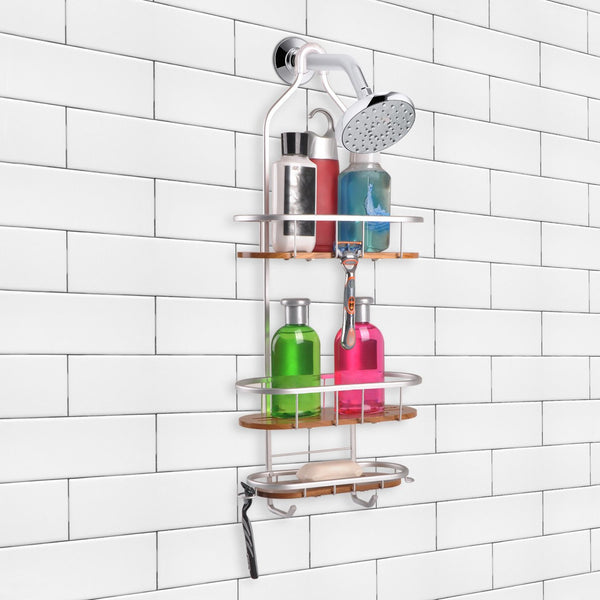 Loft97 Tia Rustproof Over the Shower Caddy, 3 Teak Shelves