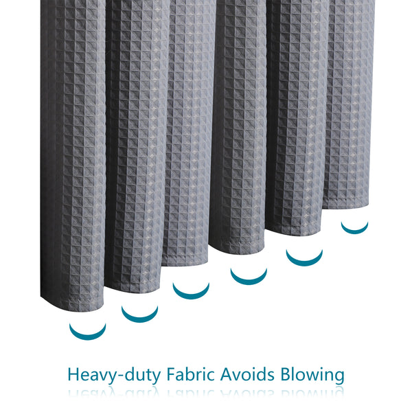 Loft97 Waffle Weave Clawfoot Tub Shower Curtain 180 x 70 Inch Wrap Around - Heavyweight Fabric, Washable, Water Repellent, with 36 Hooks Set, 180x70, Gray/White