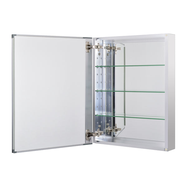 Loft97 Rustproof Medicine Cabinet, Glass Shelves, Mirrored Sides, Single Door