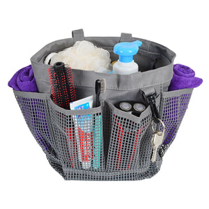 Loft97 Portable Mesh Shower Caddy, 6 External Pockets and Key Holder, Gray