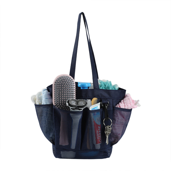 Loft97 Mesh Portable Shower Caddy, Quick Dry Shower Tote Bag, Bathroom Organizer Bag, Gray/Blue Color. Perfect For Dorm, Gym, Bath with Handles.