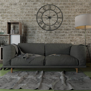 "Loft97 Oversize Roman Round Wall Clock, 30"", Distressed Black"