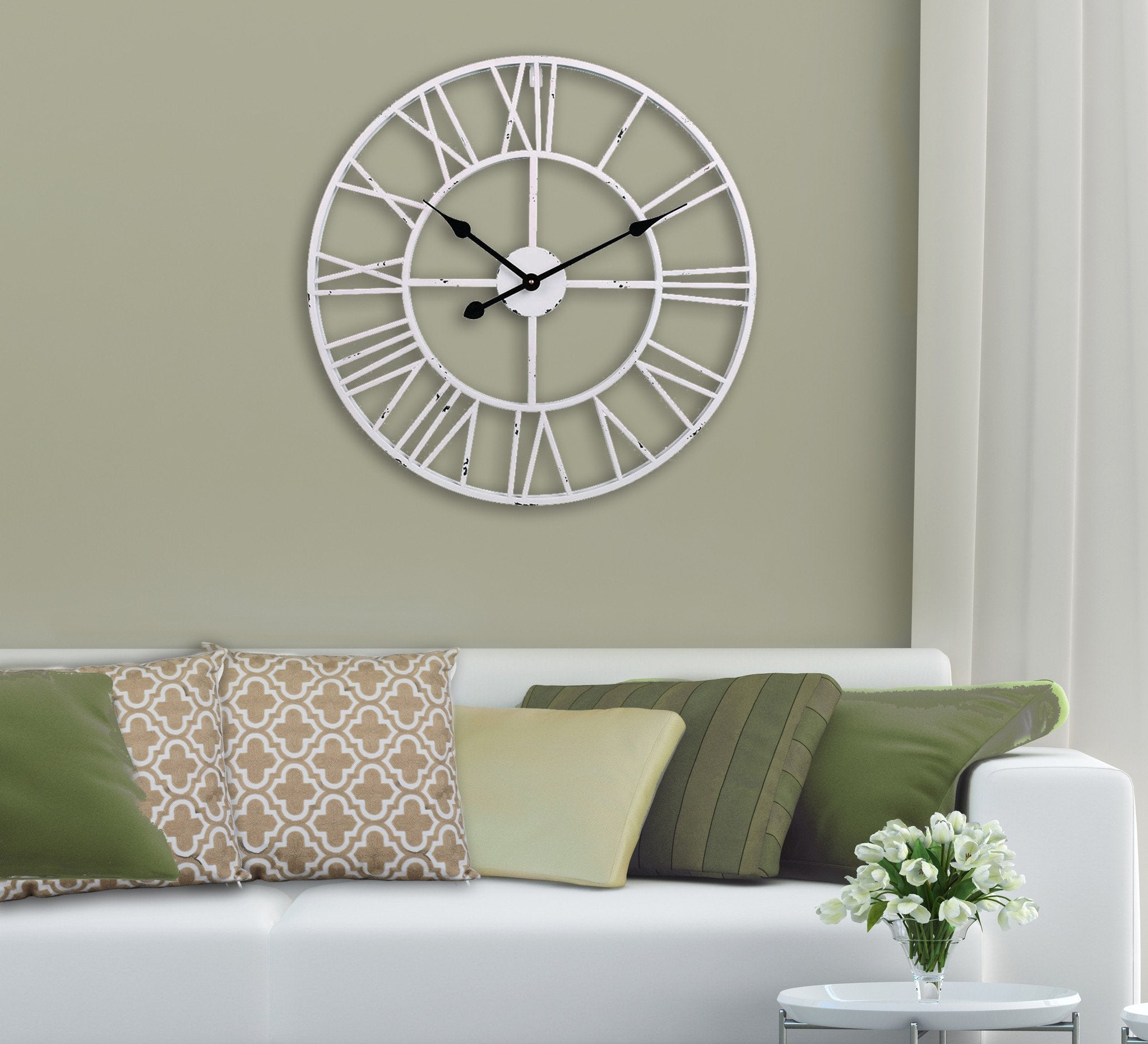 "Roman Round Wall Clock, Distressed Finish, Antique White, 24"" or 30"", Loft97"