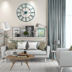 "Loft97 Roman Round Wall Clock, 24"" Diameter, Distressed Sea Green"