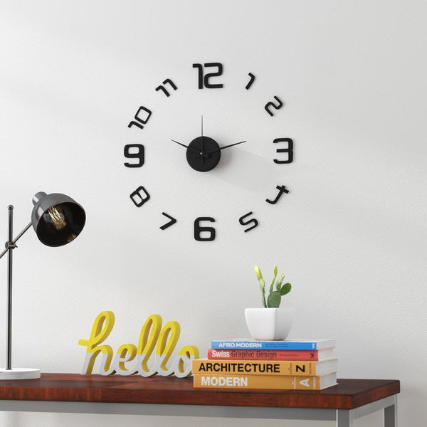 "Loft97 3D Frameless Wall Clock, 20"" Flexible Size, Black"