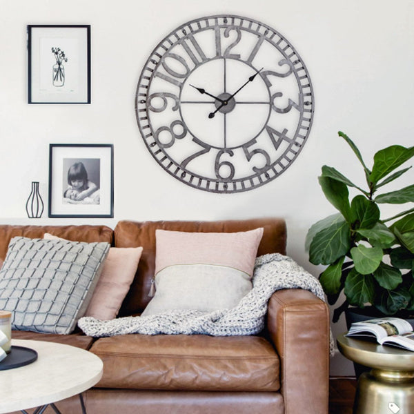 "Loft97 Manhattan Industrial Wall Clock, 32"" Diameter, Pewter"