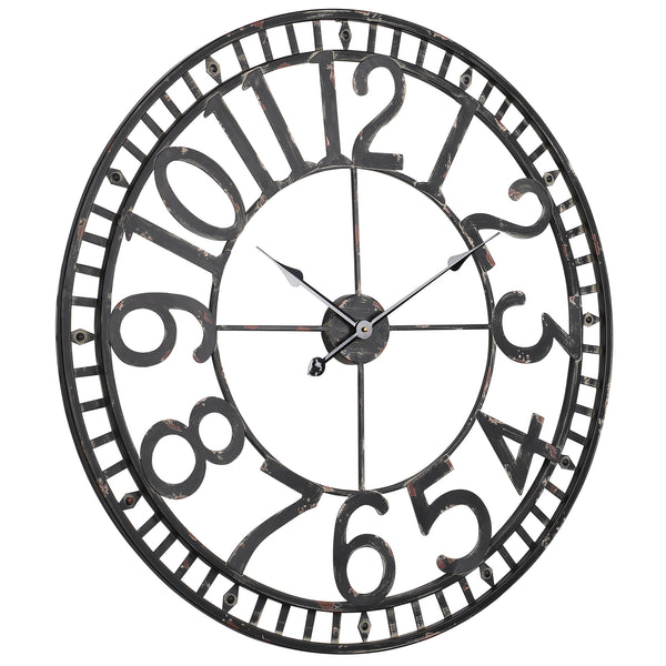 Loft97 Manhattan Industrial Wall Clock, Analog, Black, 32""