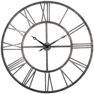 Loft97 Rivet Roman Industrial Oversize Wall Clock, Gray, 45""