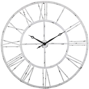 Loft97 Rivet Roman Industrial Oversize Wall Clock, White, 45""