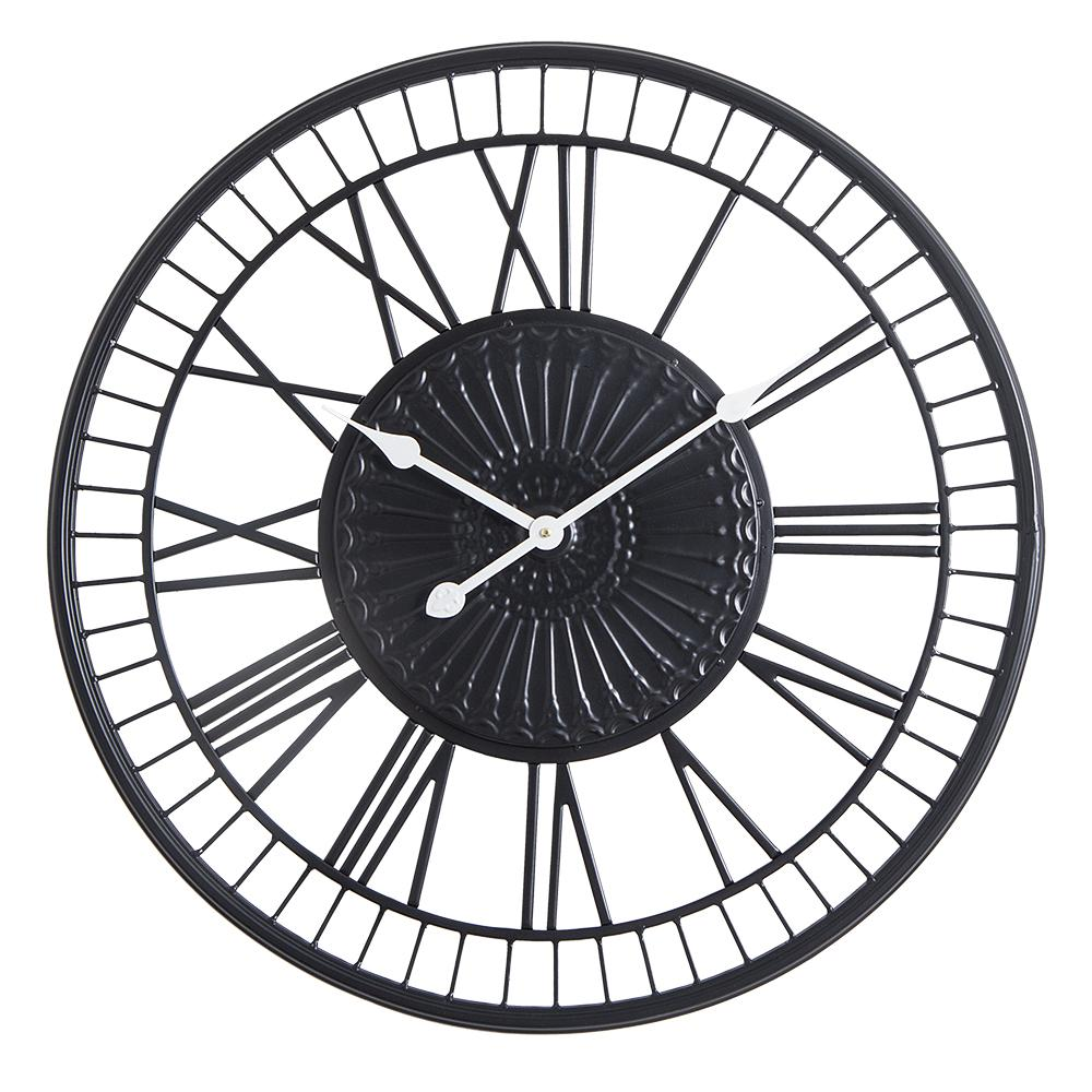 "Loft97 Oversize Roman Round Wall Clock, 28"" Diameter, Matte Black Finish"