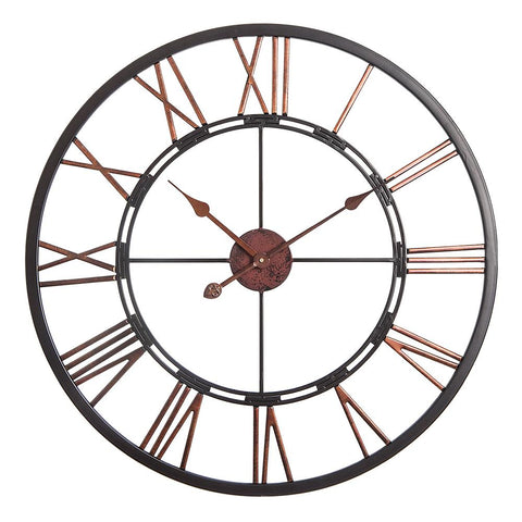 "Loft97 Oversize Roman Round Wall Clock, 28"" Diameter, Dark Bronze Finish"