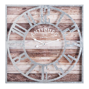 "Loft97 Oversize Roman Square Wall Clock, 24"" Diameter Clock Face, Multi-Tone Wood Finish"