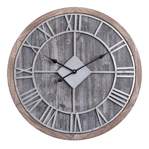 "Loft97 Oversize Roman Round Wall Clock, Gray Wood Finish, 28"" Diameter"