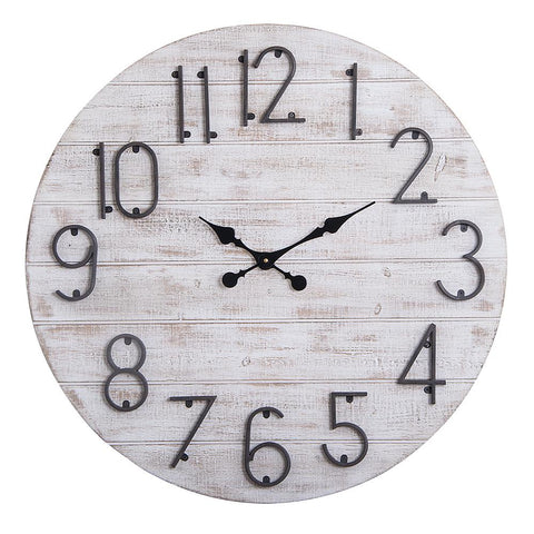 "Loft97 Oversize Round Wall Clock, 28"" Diameter, Gray Wood Finish"